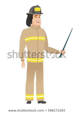 Caucasian firefighter holding pointer stick. Stock photo © RAStudio