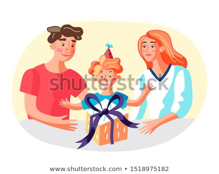 Vector hand drawn colorful illustration of happy mother with a b Stock photo © curiosity