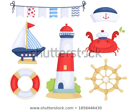 vector cartoon style lighthouse icon for web isolated on white stock photo © curiosity