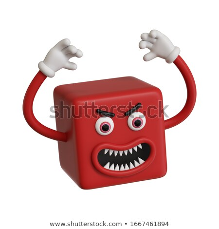 Angry emoticon screams. Open mouth and teeth. Crazy Emoji. emoti Stock photo © MaryValery