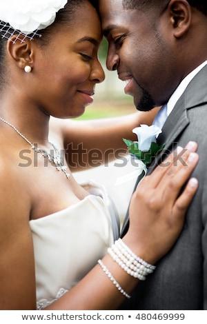 Fiatal vőlegény menyasszonyi virágcsokor vidám mosolyog Stock fotó © RAStudio