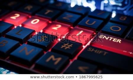 Nuevos inicio rojo teclado botón dedo Foto stock © tashatuvango