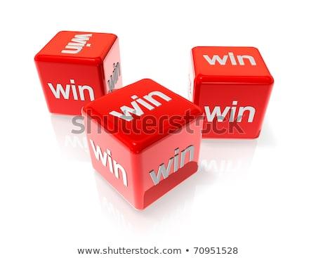 Three White Win Dices Stockfoto © Daboost