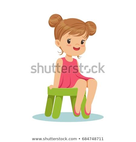 Mooi meisje vergadering kruk jonge geïsoleerd grijs Stockfoto © LightFieldStudios
