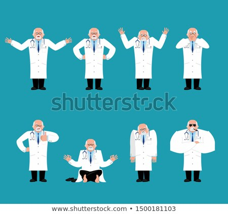 Doctor set. Physician sad and yoga. bewildered and angry. happy  Stock photo © popaukropa