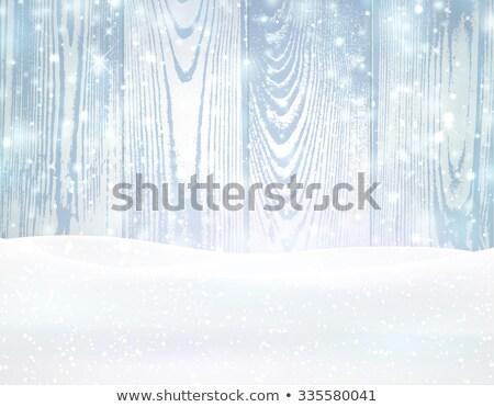 Niebieski mroźny zimą śniegu lodu struktura drewna Zdjęcia stock © Konstanttin