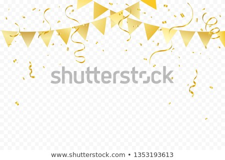 golden flags with confetti background vector stock photo © andrei_