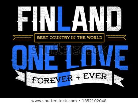 Sportok ventillátor Finnország szív zászló vidék Stock fotó © rogistok
