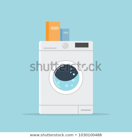 washing machine in flat style. isolated on blue background. modern vector illustration Stock photo © MarySan