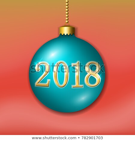 happy new year 2018 illustration with bright 3d number and ornamental ball on blue background vecto stock photo © articular