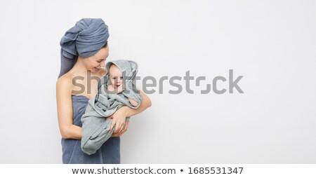 kadın · havlu · banyo · saç · mavi - stok fotoğraf © lenm