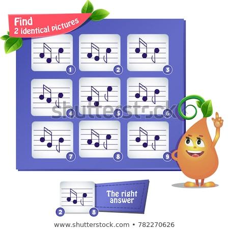 Talál azonos képek hangjegyek játék gyerekek Stock fotó © Olena