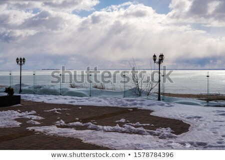 Stock photo: Light snowing behind dried grass at a frozen lake