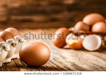 Pascua nido amarillo huevos de Pascua rústico flores Foto stock © Zerbor