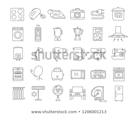 Stok fotoğraf: Home Appliances Icons From Thin Lines Vector Illustration