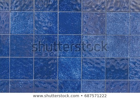 close up background of blue ceramic tiles stock photo © artjazz