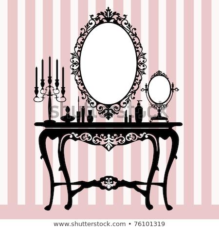 retro dressing console candelabra and mirror stock photo © elak