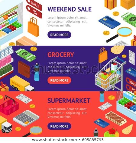Online shopping horizontal flyers set Stock photo © studioworkstock