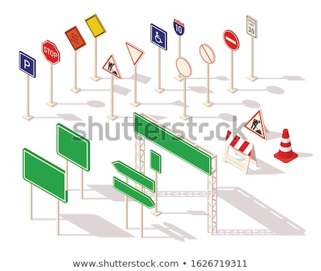 road sign isometric icon isolated on color background stock photo © sidmay