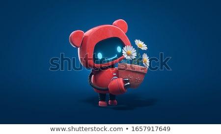 Cute cartoon robot bloem kleurrijk Stockfoto © zsooofija