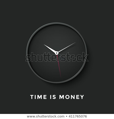Icon of black clock face with shadow and message Time is Money Stock photo © FoxysGraphic