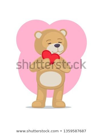 Imádnivaló plüssmaci szív fej medve száj Stock fotó © robuart
