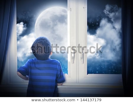 A Boy Observing the Moon Stock photo © bluering