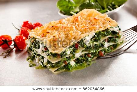 Espinafre creme lasanha queijo vegetal dieta Foto stock © M-studio