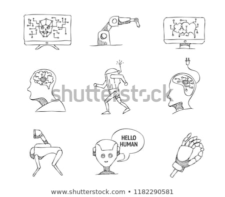 Bionics and artificial intelligence icon set Stock photo © frimufilms