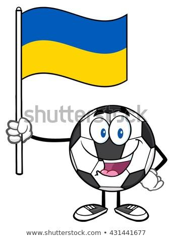 счастливым футбольным мячом мультфильм талисман характер флаг Сток-фото © hittoon