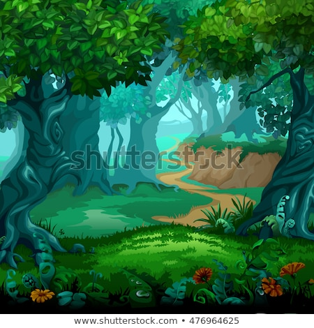 verano · árboles · parque · vector · Cartoon · paisaje - foto stock © lady-luck
