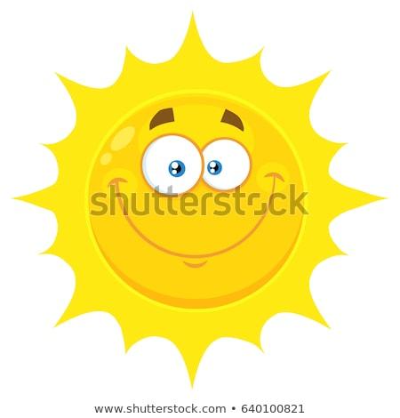 Uśmiechnięty słońce maskotka cartoon charakter proste projektu Zdjęcia stock © hittoon