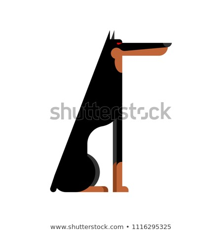 Doberman service dog protector. Pet Vector illustration Stock photo © MaryValery