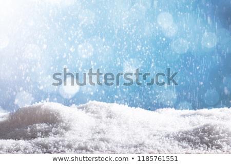 Hó részecskék zuhan lefelé kék közelkép Stock fotó © AndreyPopov
