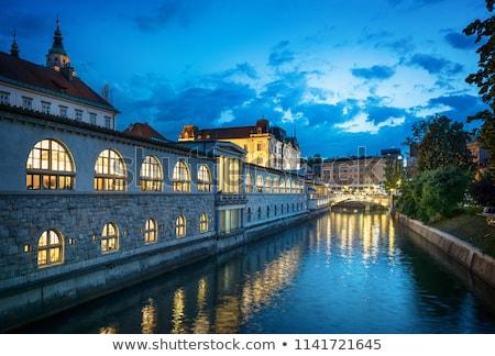 Ljubljana Market arcade on the Ljubljanica river in Slovenia Stock photo © boggy