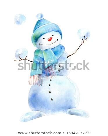 Cute blijde sneeuwpop vrolijk hoed hoofd Stockfoto © liolle