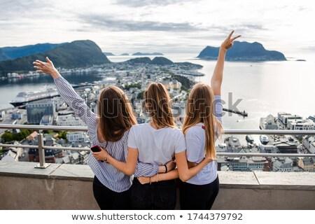 Touristiques ville Norvège port célèbre attraction touristique Photo stock © Kotenko