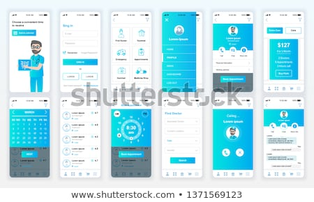 Stockfoto: Flat Design Medical And Pharmacy App Screens Modern User Interface Ux Ui Screen Template For Mobil