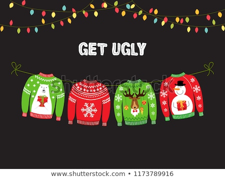 christmas background with cute ugly christmas sweaters stock photo © margolana