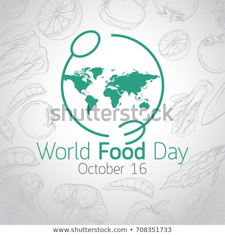 food day card with fruit and vegetable icons stock photo © cienpies