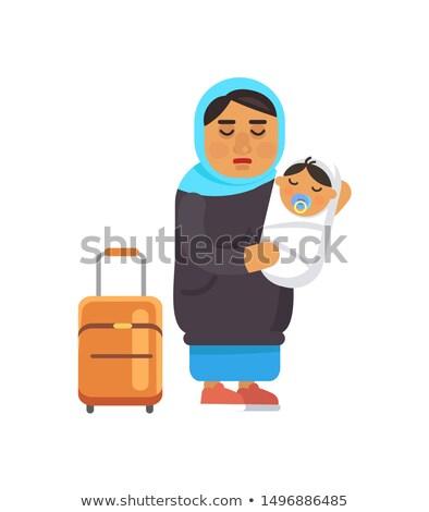 Homme réfugiés bébé valise Photo stock © robuart