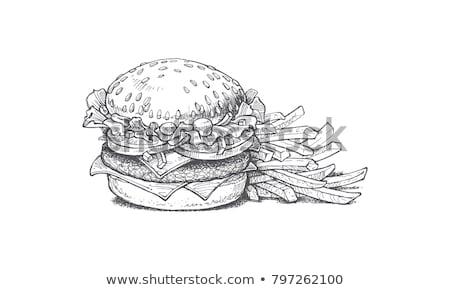 Vector hamburger ingesteld illustratie icon fastfood restaurant Stockfoto © tele52