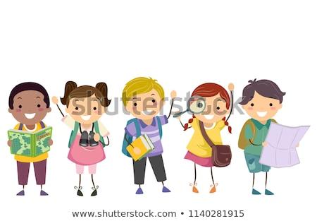 Gyerekek osztály könyv földrajz illusztráció tart Stock fotó © lenm