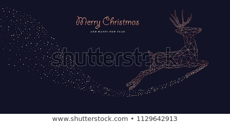 christmas and new year copper outline deer card stock photo © cienpies
