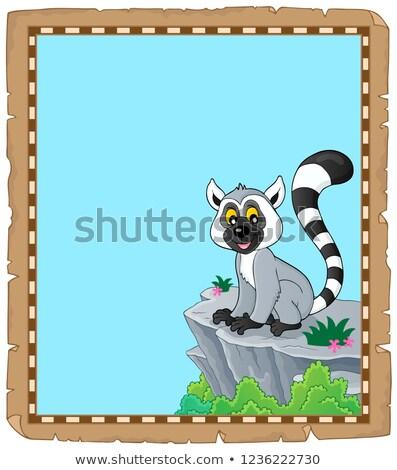 Perkament kunst steen dier tekening kijken Stockfoto © clairev