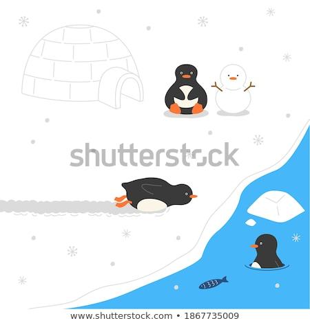 S'ennuie peu pingouin cartoon illustration regarder Photo stock © cthoman