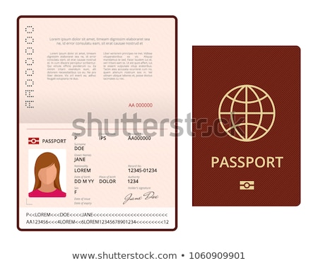 Opened international passport template with red cover Stock photo © MarySan