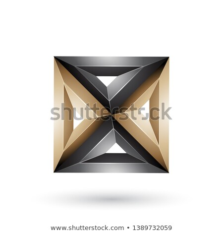 Beige and Black 3d Geometrical Embossed Square and Triangle Shap Stock photo © cidepix