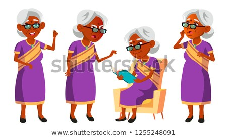 Indian Old Woman In Sari Vector. Elderly People. Hindu. Asian. Senior Person. Aged. Comic Pensioner. Stock photo © pikepicture