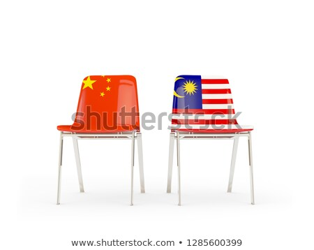 Photo stock: Two Chairs With Flags Of China And Malaysia Isolated On White